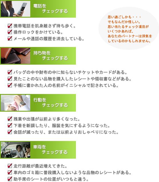電話/持ち物/行動/車両 チェック